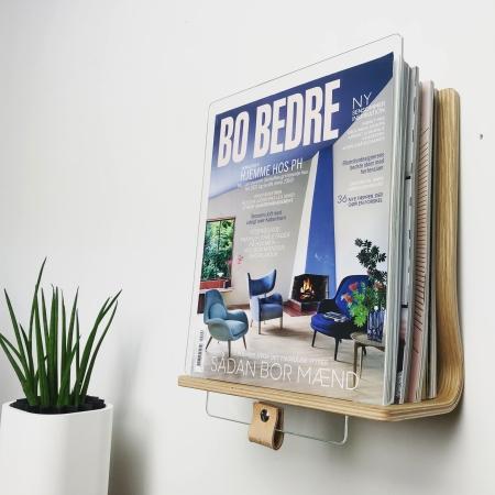 Read magasinholder i egetræ
