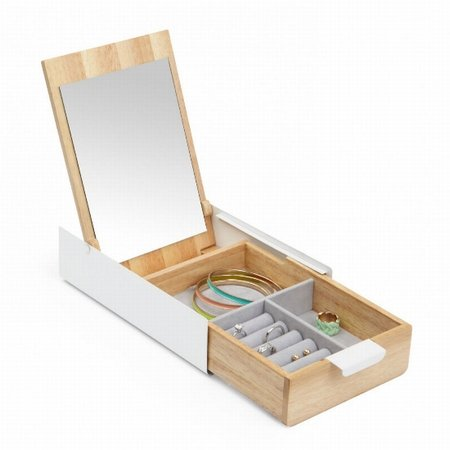 Opbevarings boks - tr� og hvid