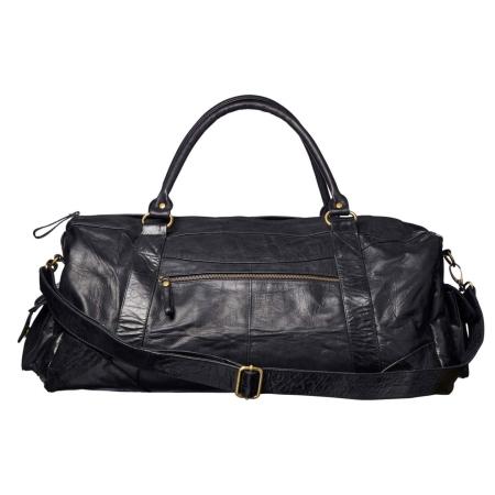 Rejsetaske i sort læder