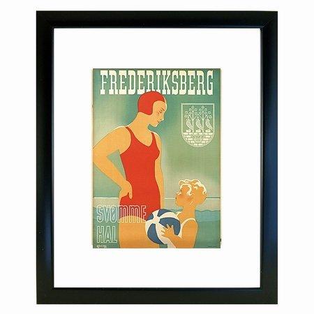 Retro plakat - Frederiksberg Sv�mmehal