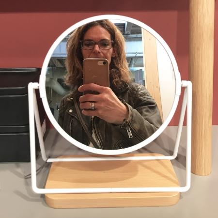Bordspejl hvid metal og træ