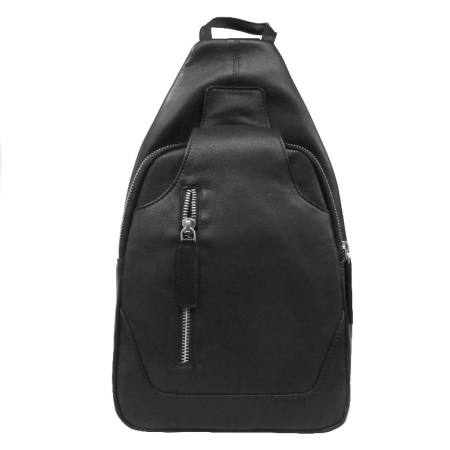 Læder rygsæk - sort skind