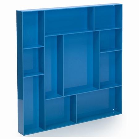 Sættekasse kvadratisk - blå akryl