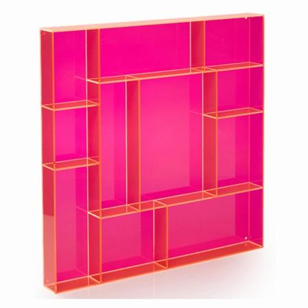 Sættekasse kvadratisk - pink akryl