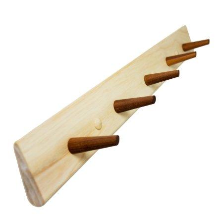 Shaker knagerække - valnød 5 knager