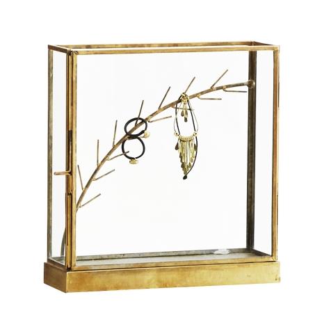 Smykkeholder - glasmontre i messing