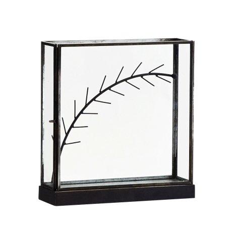 Smykkeholder - glasmontre i sort