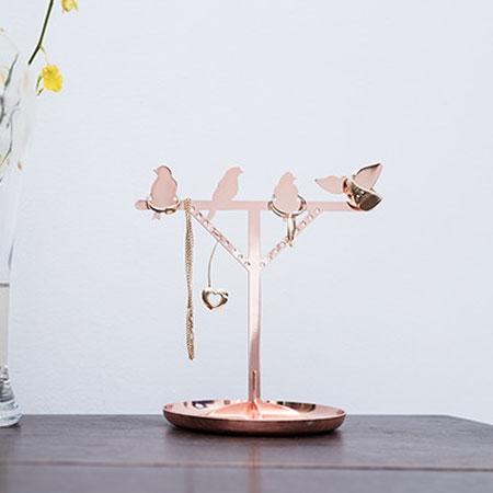 Smykkeholder med fugle - kobber