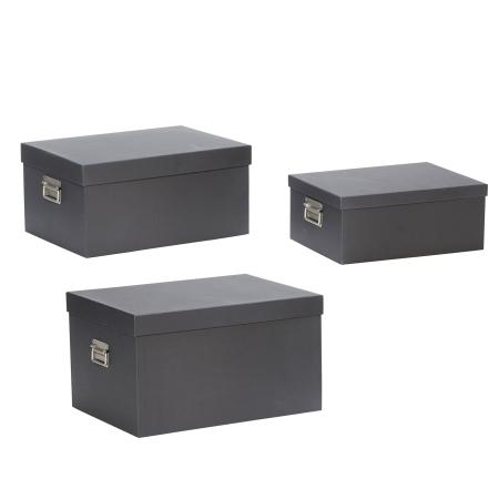 Opbevaringsbokse 3 stk. - sort