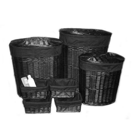 Sæt med 3 sorte vasketøjskurve + 4 kurve