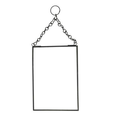 Spejl til væg i sort metal