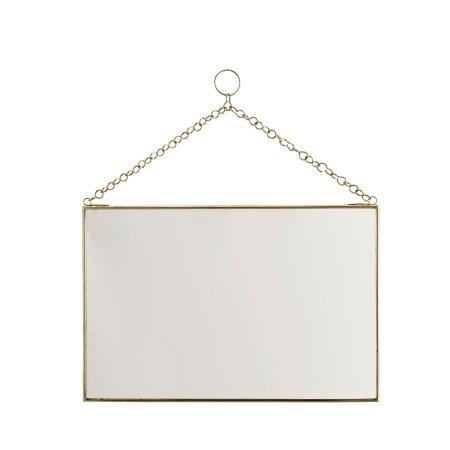 Spejl med messing kant - 20x30 cm