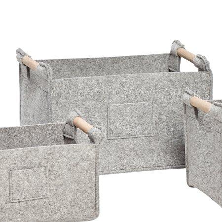 Lys grå filt kurv - stor
