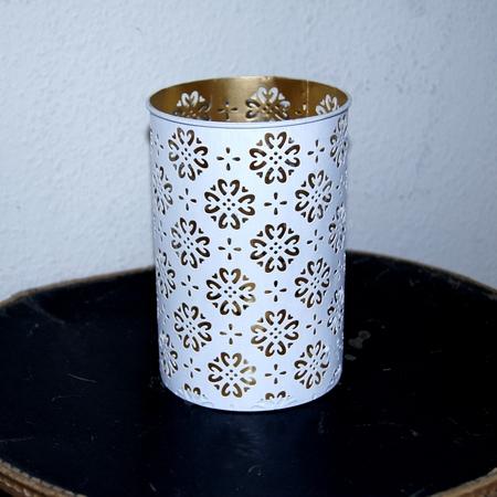 Lysestaget i hvid/guld med glas indsats