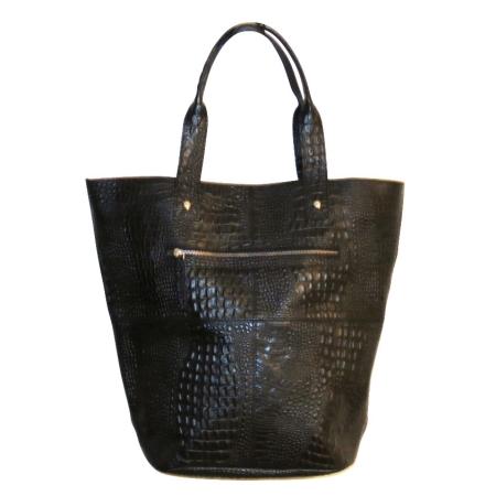 Stor læder taske - sort kroko præg