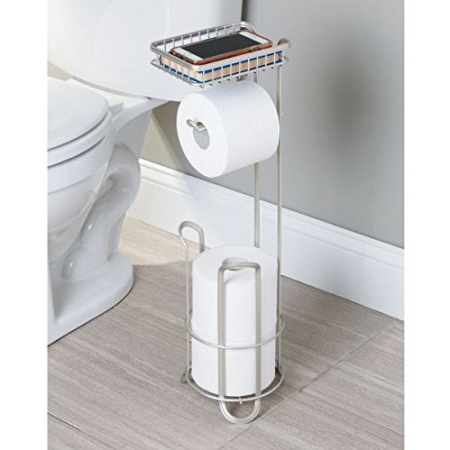 Toiletrulleholder med reserve til gulv