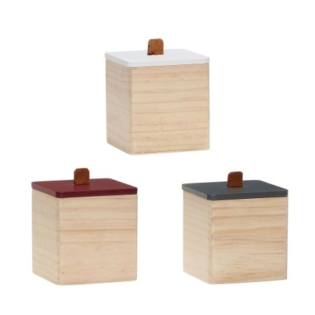 Træ opbevaringsbokse kvadratisk - 3 stk.