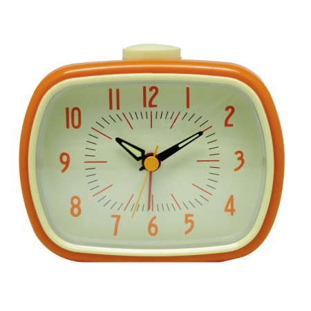 Retro vækkeur med alarm - orange
