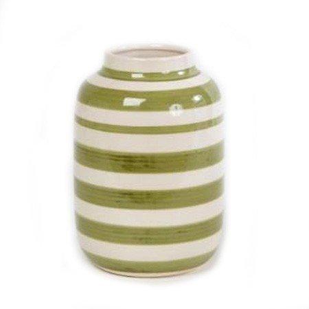Stor vase med striber - hvid og gr�n