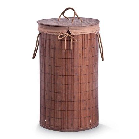 Rund vasketøjskurv i bambus - brun