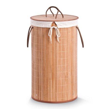 Rund vasketøjskurv i bambus - natur