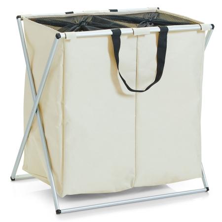 Vasketøjskurv 2 rum - beige