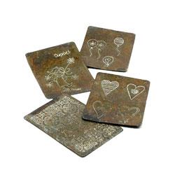 Rustikke kort i metal - 4 stk pr. s�t