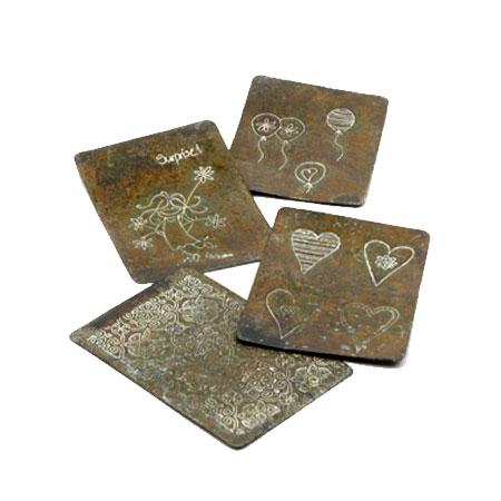 Rustikke kort i metal - 4 stk pr. sæt