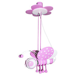 B�rnelampe bi - pink/hvid
