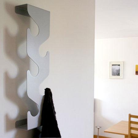 Wave coatrack - sølvfarvet / grå knagerække