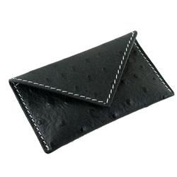 Visitkortholder - sort strudsepræget læder