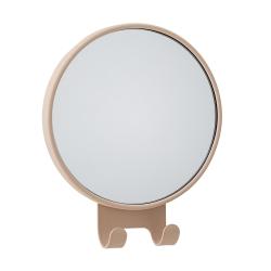 Image of   Rund spejl med knager - brun