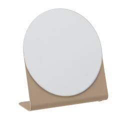 Image of   Rund spejl med brun fod