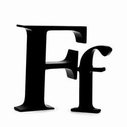 Sort bogstav - f fra okholm på fenomen