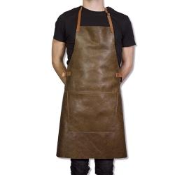 Læder forklæde bbq - vintage brun