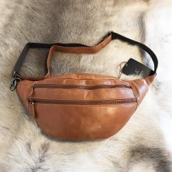 Bæltetaske i læder - vintage cognac