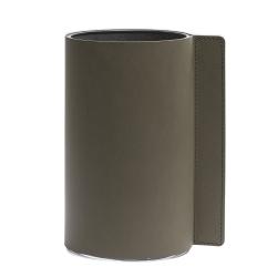 Image of   Block læder vase i army green - medium