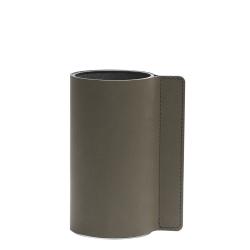 Image of   Block læder vase i army green - small