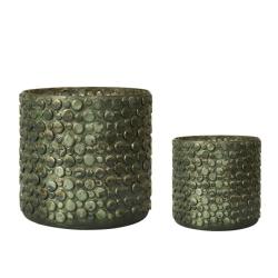 Image of   Urtepotteskjulere i grøn glas - 2 stk.