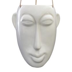 Image of   Hængende blomster krukke lang maske - hvid