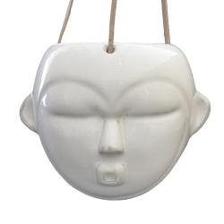 Image of   Hængende blomster krukke maske - hvid