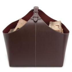 Brændekurv – brun læder
