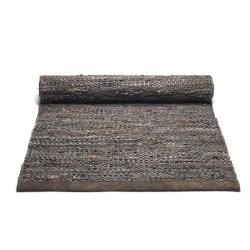 Image of   Lang læder gulv løber - mørk brun 75x300 cm