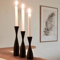 Træ lysestager 3 stk i sort - By Brorson