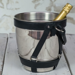 Billede af Champagnekøler - metal og sort læder