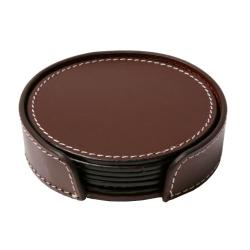 Image of   Læder glasbrikker - mørk brun