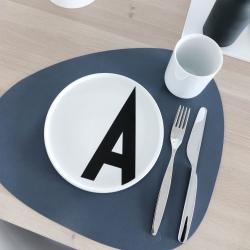 Image of   Dobbelt dækkeserviet i læder - blå/sort