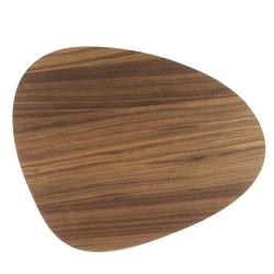 Image of   Dækkeserviet valnød træ/sort læder - curve small