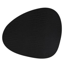 Dækkeserviet i sort kroko læder - curve large