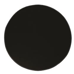 Image of   Læder dækkeserviet rund - sort/hvid